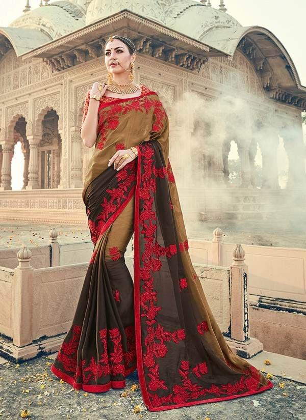 Brown,Black & Red Color Designer Heavy Embroidery Work Saree 30560