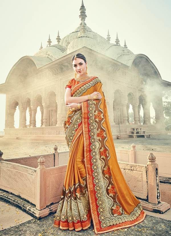 Orange Color Designer Heavy Embroidery Work Saree 30561