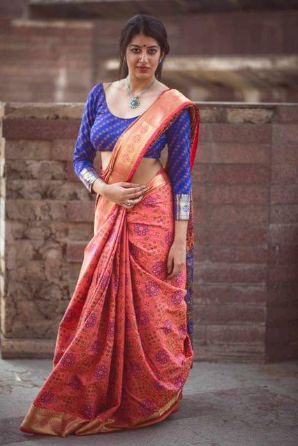 Peach Color Designer Patola Silk Saree 30566