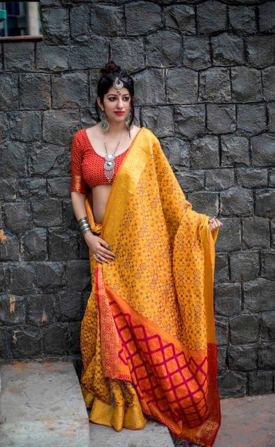 Yellow Color Designer Patola Silk Saree 30570