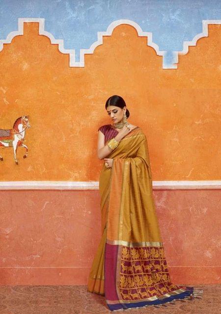 Yellow Color Designer Trendy Silk Saree 29912