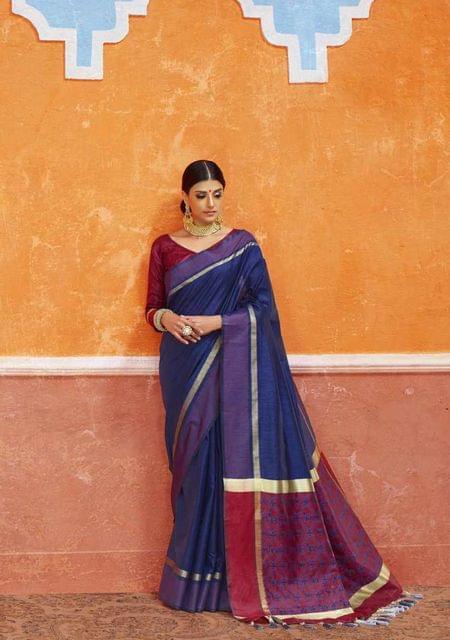 Navy Blue Color Designer Trendy Silk Saree 29917