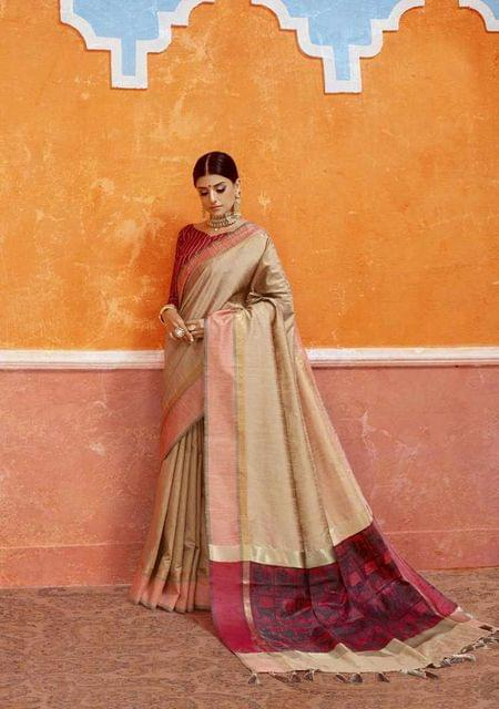 Beige Color Designer Trendy Silk Saree 29919