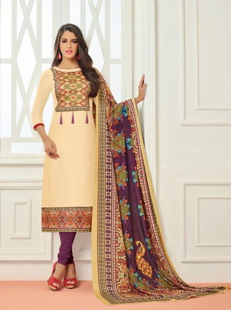 Beige Color Cotton Designer Unstitched Salwar Suit 29838