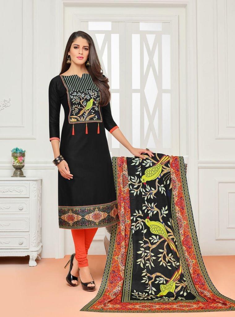 Black Color Cotton Designer Unstitched Salwar Suit 29839