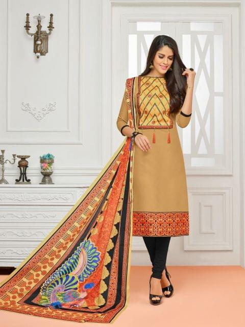 Beige Color Cotton Designer Unstitched Salwar Suit 29840