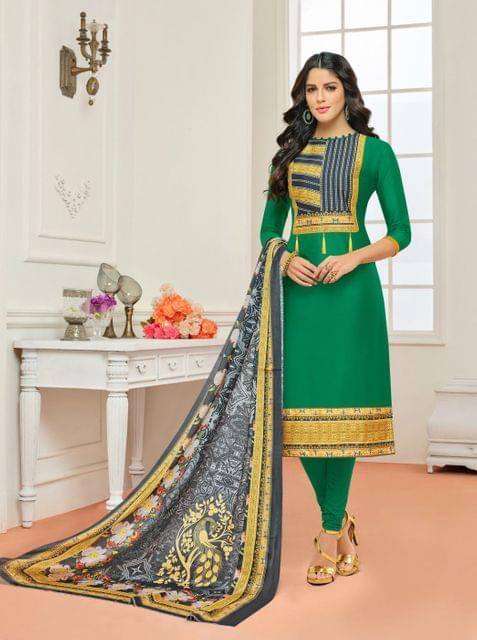 Green Color Cotton Designer Unstitched Salwar Suit 29841