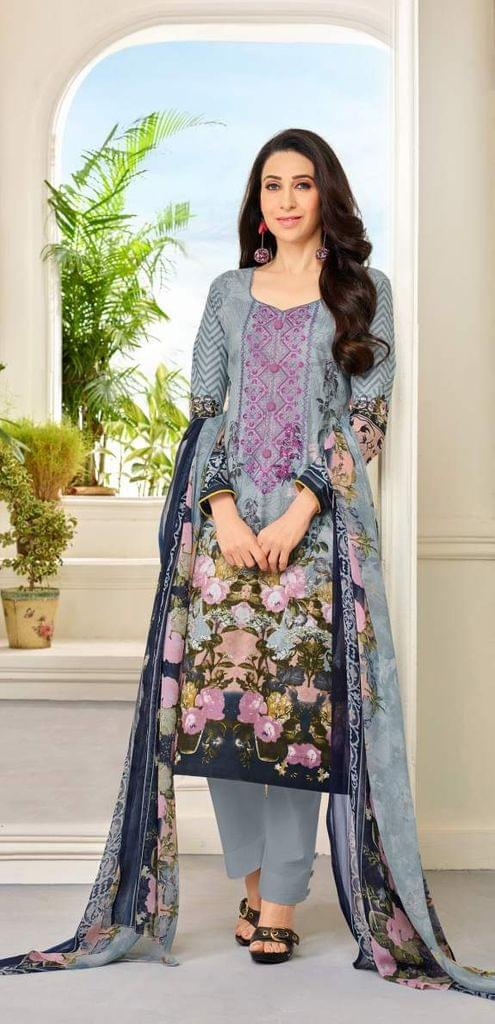 Gray Color Designer Straight cut Salwar Suit 30543