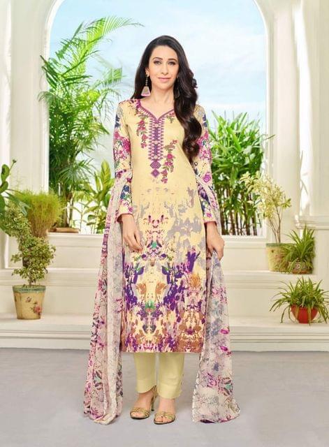 Beige Color Designer Straight cut Salwar Suit 30545