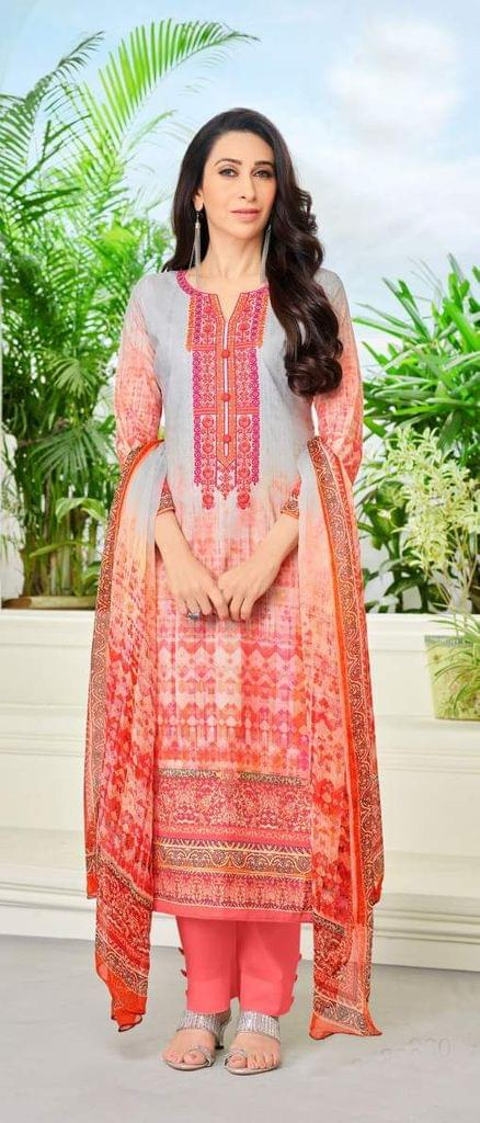 Peach Color Designer Straight cut Salwar Suit 30548