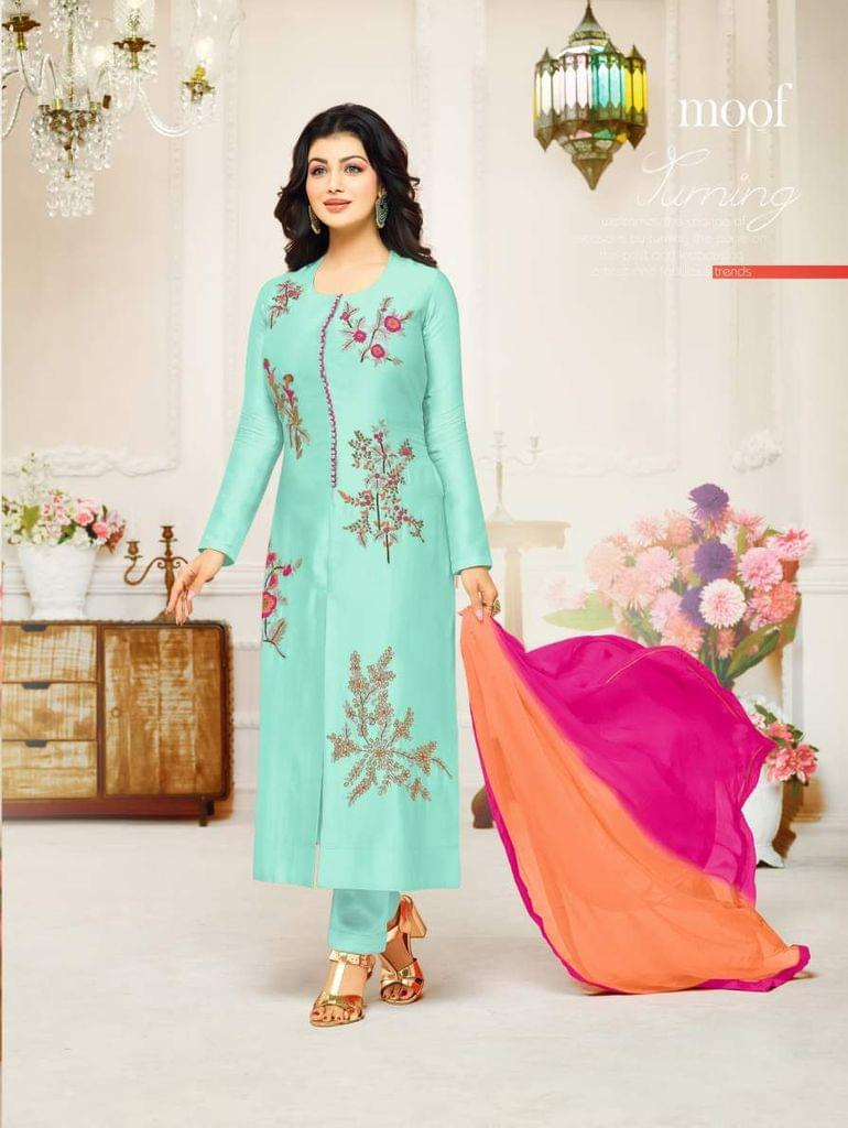 Light Teal Color Designer Embroidered Salwar Suit 30651