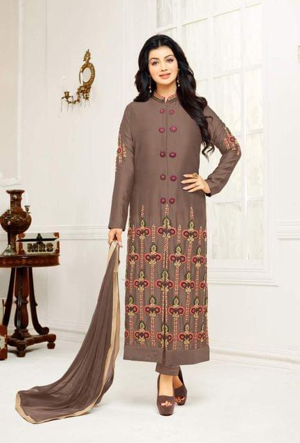 Brown Color Designer Embroidered Salwar Suit 30652