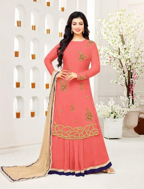 Peach Color Designer Embroidered Salwar Suit 30655