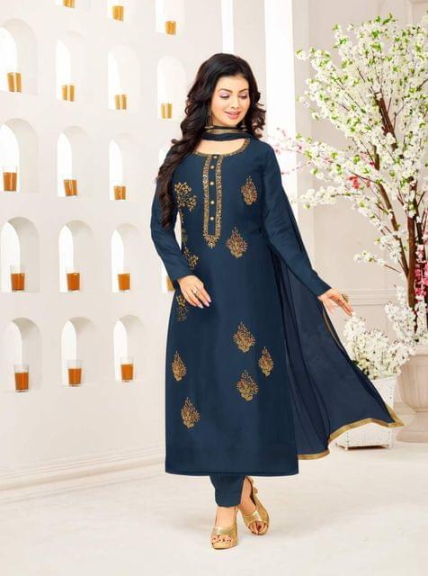 Blue Color Designer Embroidered Salwar Suit 30656