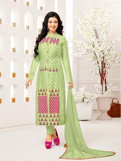 Light Green Color Designer Embroidered Salwar Suit 30657