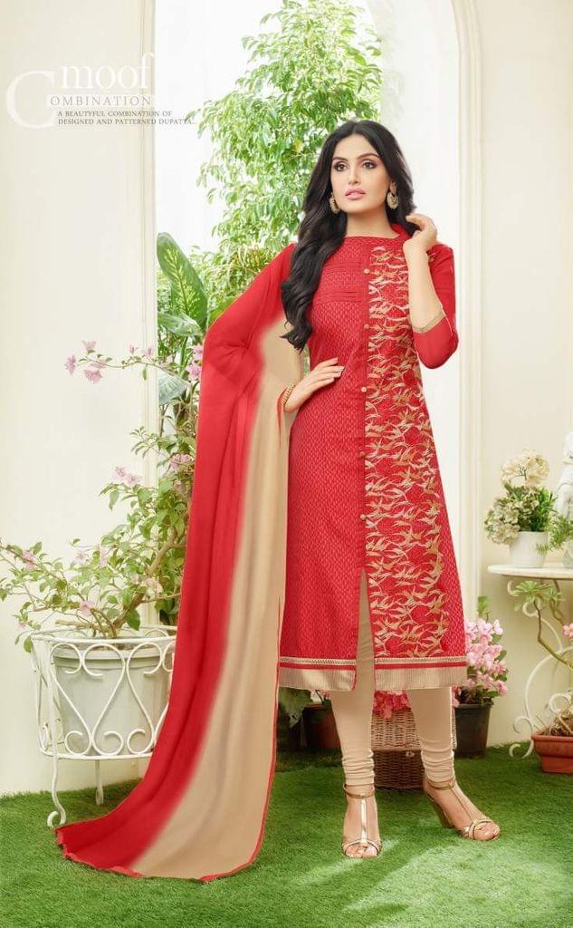 Red Color Designer Straight-Cut Salwar Suit 30661