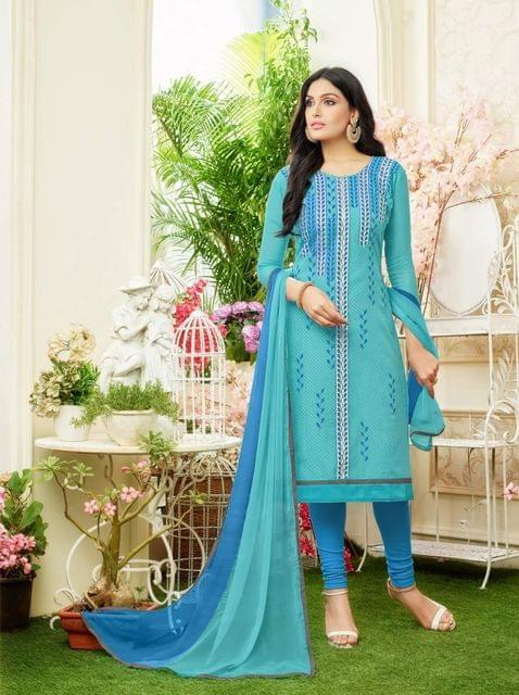 Sky Light Blue Color Designer Straight-Cut Salwar Suit 30663