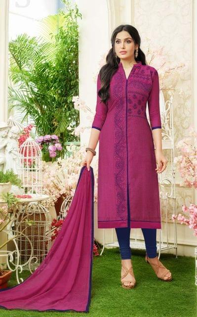 Magenta Color Designer Straight-Cut Salwar Suit 30664