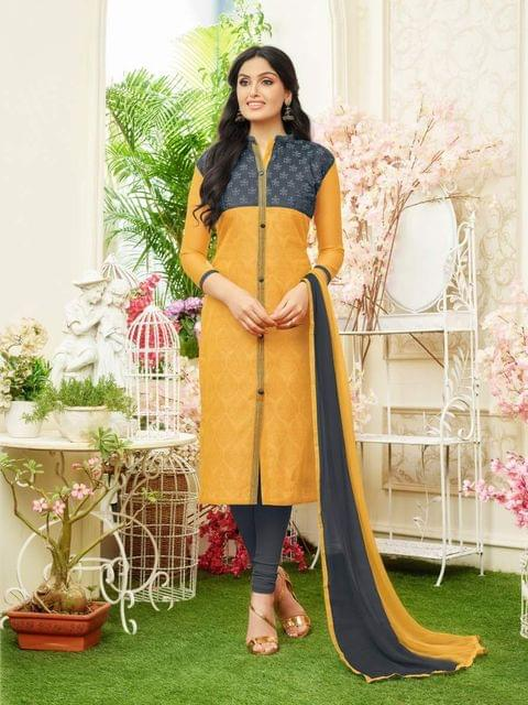 Yellow & Gray Color Designer Straight-Cut Salwar Suit 30665