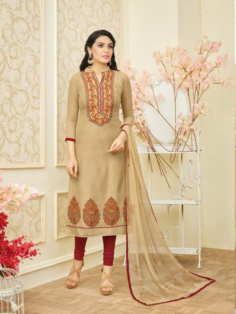 Beige Color Designer Straight-Cut Salwar Suit 30668