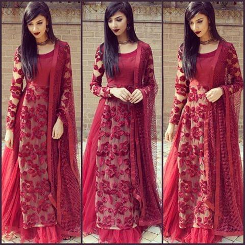 Designer Anarkali Salwar Suit maroon color