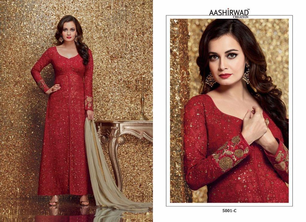 Red Georgette Pakistani Style Salwar Kameez Suit