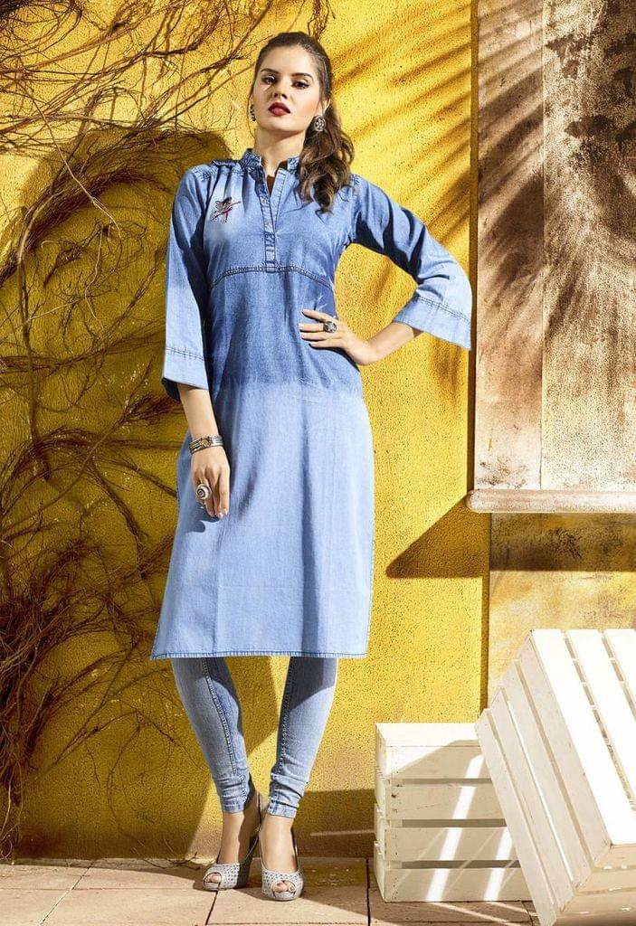 Denim Blue Color Designer Readymade Kurti30773