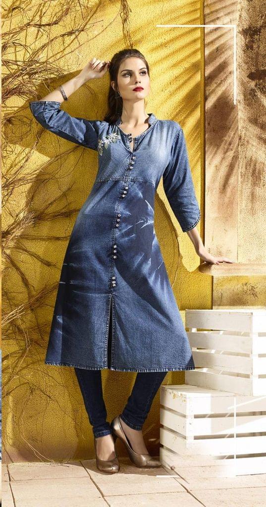 Denim Blue Color Designer Readymade Kurti30774