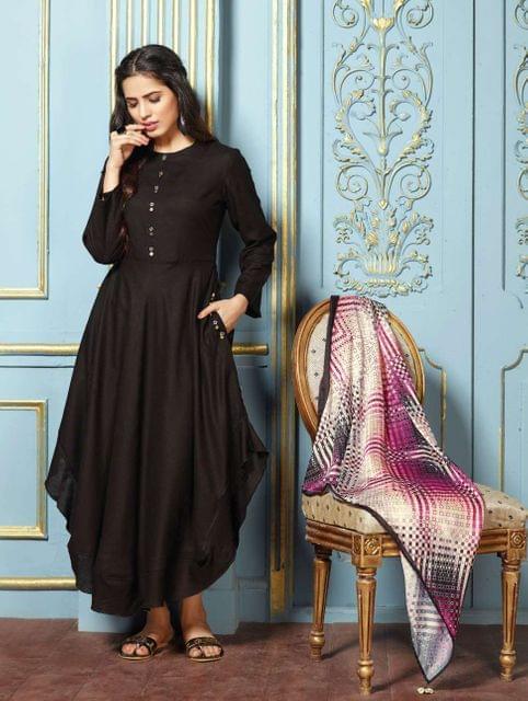 Black Color Rayon Designer Readymade Kurti 30843