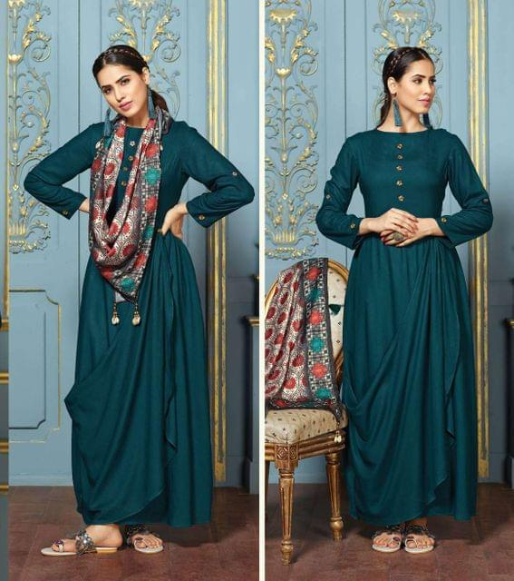 Dark Teal Color Rayon Designer Readymade Kurti 30845