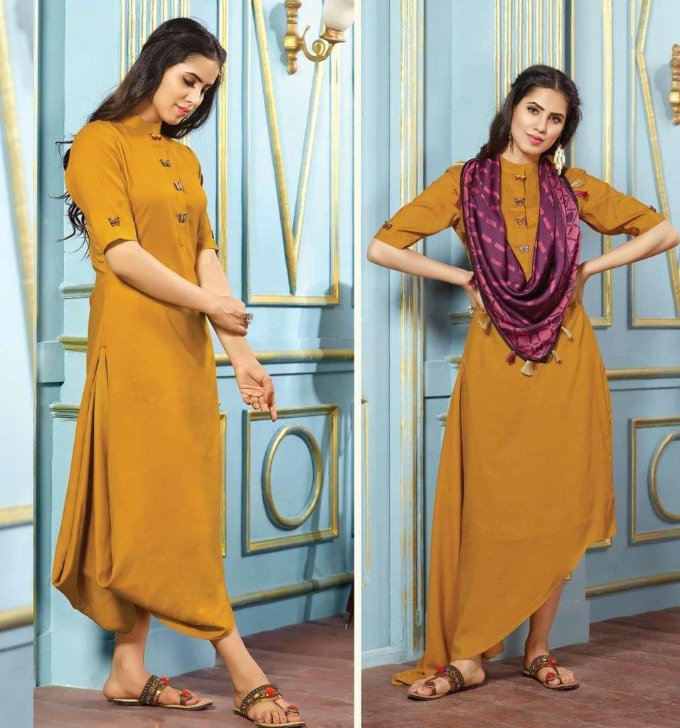 Dark Yellow Color Rayon Designer Readymade Kurti 30846