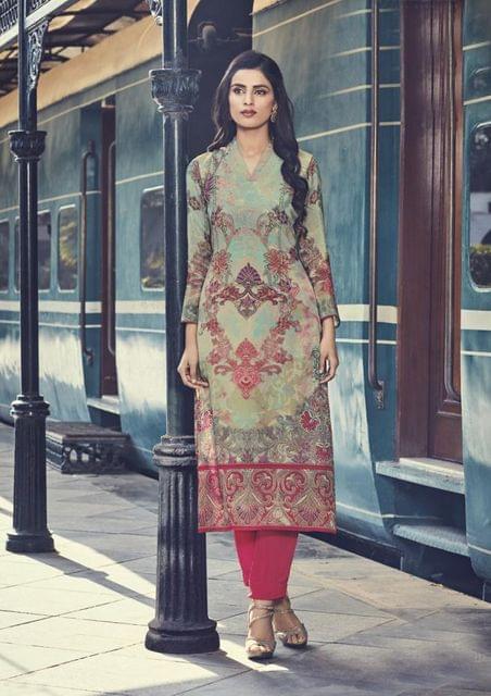 Light Green Color Cotton Satin Designer Readymade Kurti 30889
