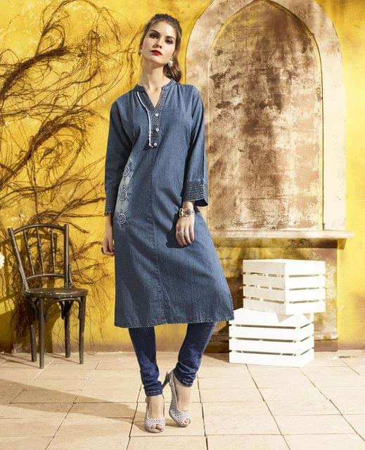 Denim Blue Color Designer Readymade Kurti30776