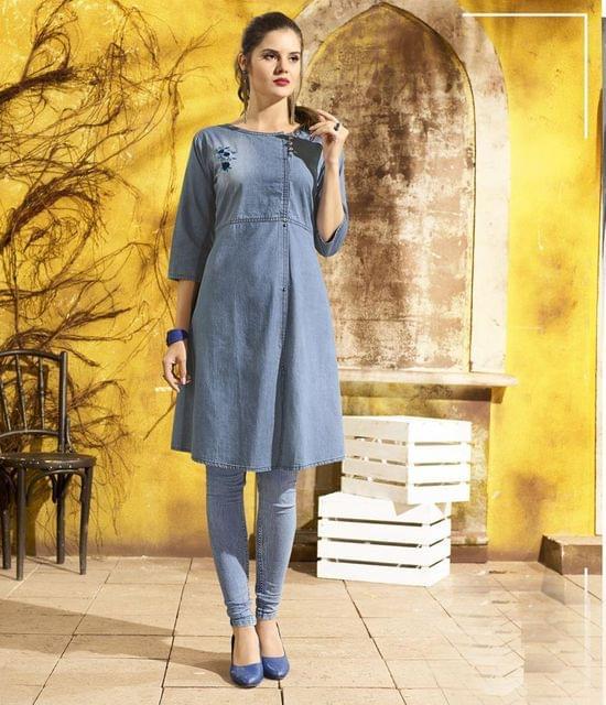 Denim Blue Color Designer Readymade Kurti30777