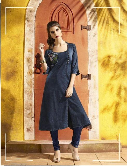 Denim Blue Color Designer Readymade Kurti 30780