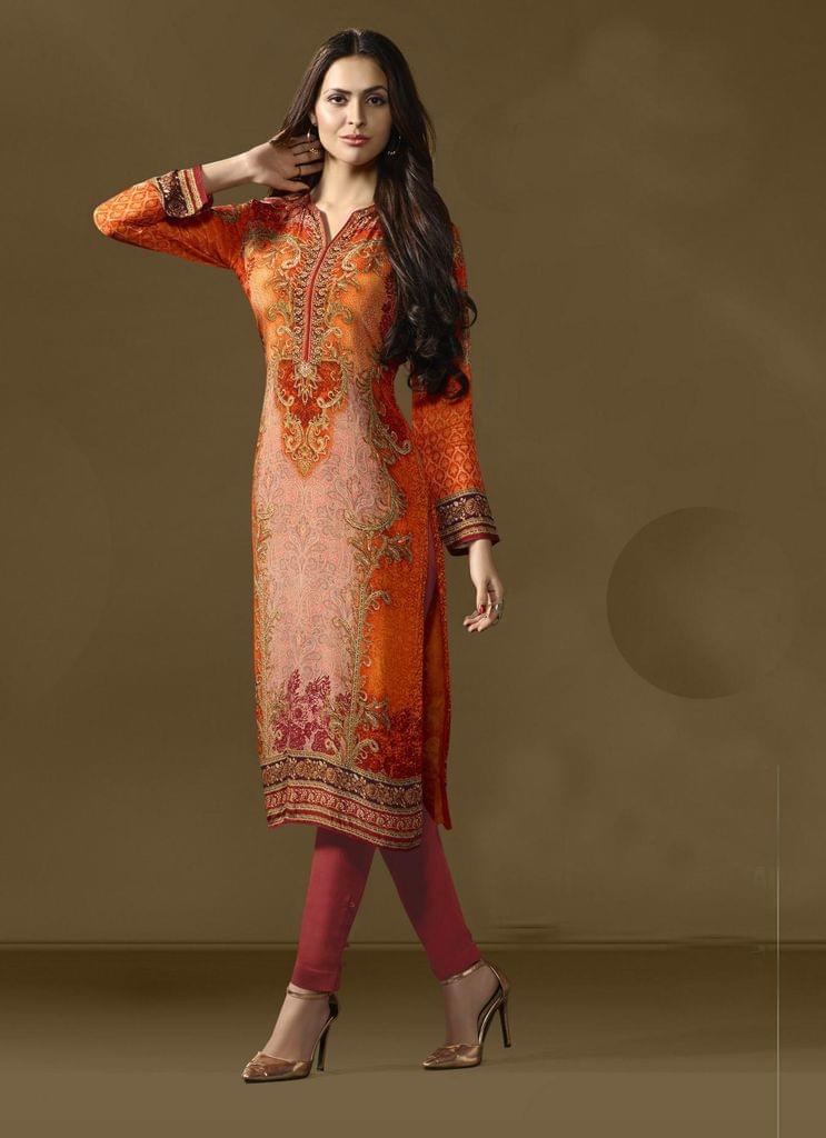 Multi Color Cotton Satin Designer Readymade Kurti 30907
