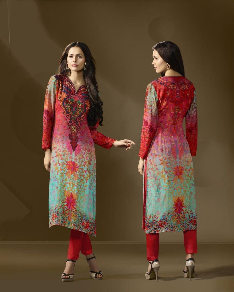 Multi Color Cotton Satin Designer Readymade Kurti 30908
