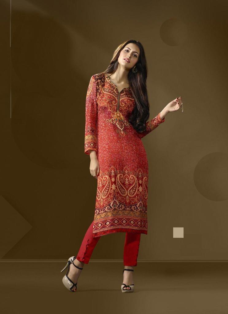 Multi Color Cotton Satin Designer Readymade Kurti 30910