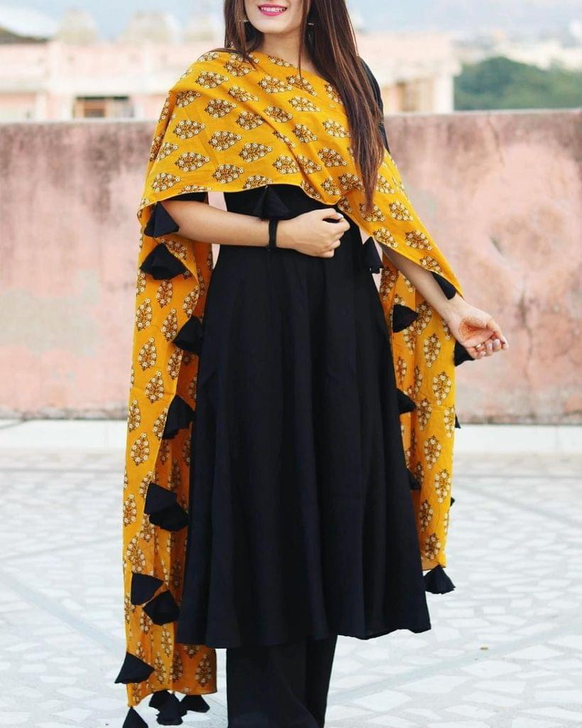 Black Color Rayon Designer Suit SASTYLE- 507