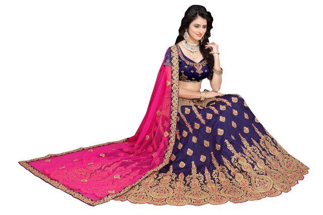Buy Banglori Silk Blue Heavy Lehenga Choli