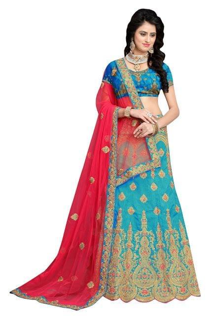 Buy Banglori Silk Sky Blue Heavy Lehenga Choli