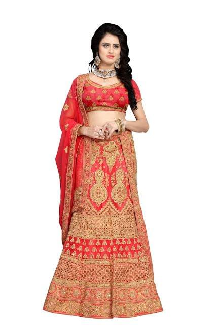New Net Gajari Heavy Lehenga Choli