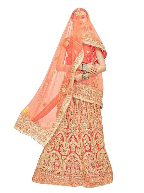 Buy Net Peach Heavy Stylish Lehenga Choli