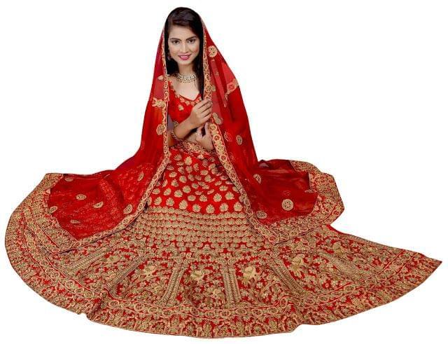 Buy Banglori Silk Red Embroidered Heavy Lehenga Choli