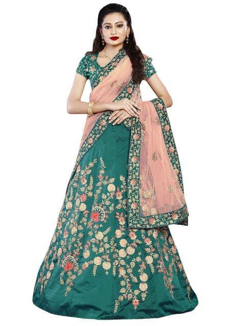 Buy Taffeta Silk Rama Green Heavy Lehenga Choli
