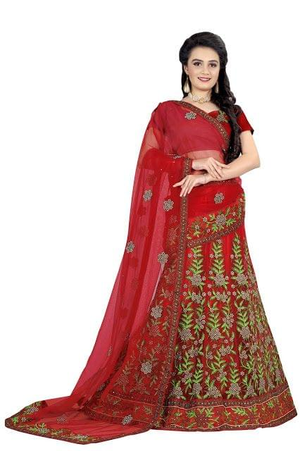 Buy Mono Net Red Heavy Lehenga Choli
