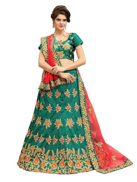 Buy Taffeta Silk Rama Green Heavy Lehenga Choli