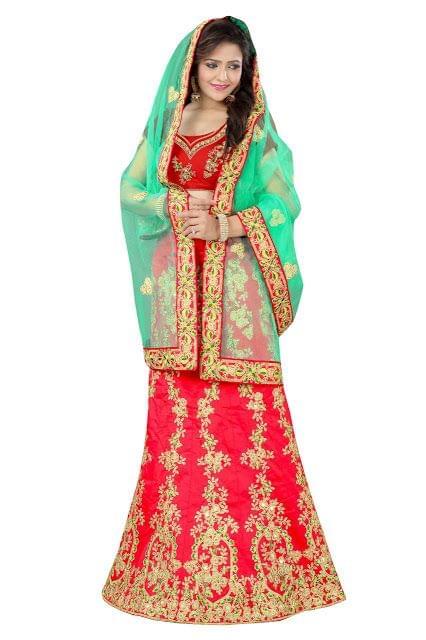 Buy Taffeta Silk Red Heavy Lehenga Choli