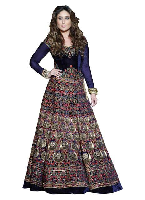 Kareena Kapoor Blue 9000 Velvet Lehenga Choi
