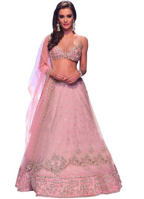 Amy Jackson Pink Nylon Net Bollywood Lehenga Choli